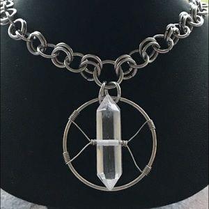 Silverskylight Jewelry - Handmade stainless steel quartz crystal necklace